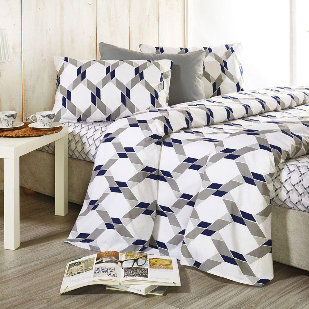 Σεντόνια Σετ 4τμχ Basic B004 No.2 Με Λάστιχο Grey-Blue Whitegg King Size 160x230cm
