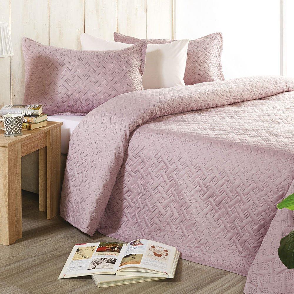 Κουβερλί Καπιτονέ Σετ 2τμχ L001 No.6 Pink Whitegg Μονό 160x240cm