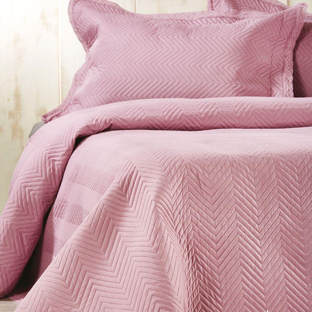 Κουβερλί Καπιτονέ Με Πλεκτή Δαντέλα L003 No.8 Σετ 3τμχ Pink Whitegg Υπέρδιπλo 220x240cm