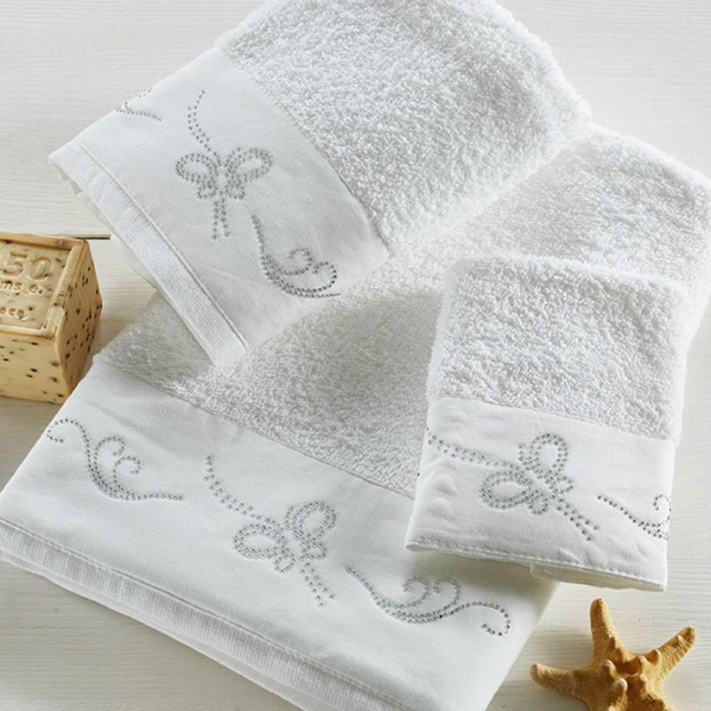 Πετσέτες Σετ 3τμχ P003 White Whitegg Σετ Πετσέτες 70x140cm
