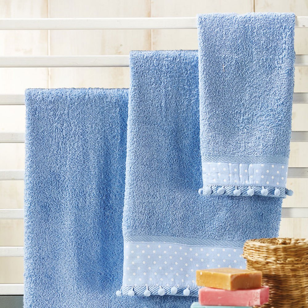 Πετσετες Σετ 3τμχ P007 No.8 Blue Whitegg Σετ Πετσέτες 70x140cm
