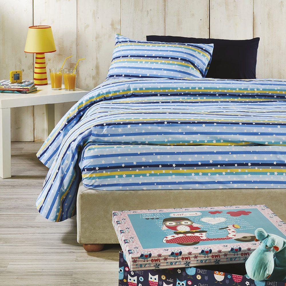 Σεντόνια Παιδικά Σετ 3τμχ C001 No.2 Blue Whitegg Μονό 160x240cm