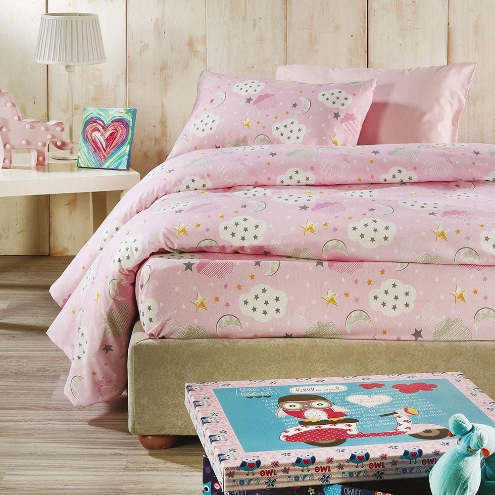 Σεντόνια Παιδικά Σετ 3τμχ C002 No.3 Pink Whitegg Μονό 160x240cm