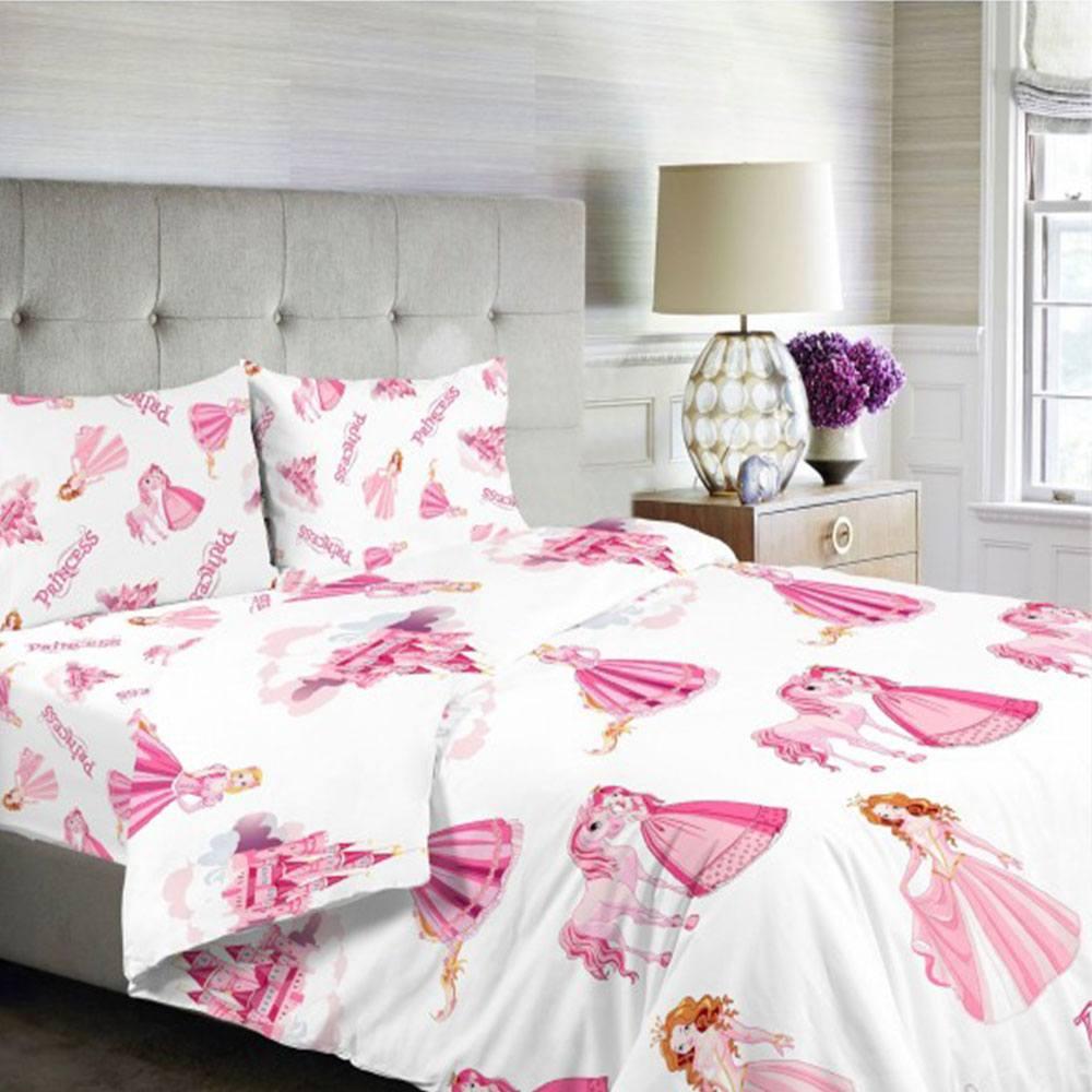 Σεντόνια Παιδικά Σετ 3τμχ Princess BA84 Pink Whitegg Μονό 160x240cm