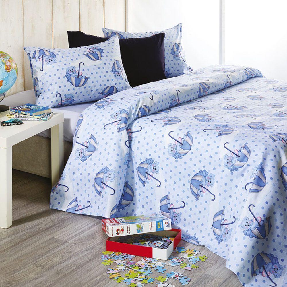 Σεντόνια Παιδικά Σετ 3τμχ C016 No.2 Blue Whitegg Μονό 160x240cm