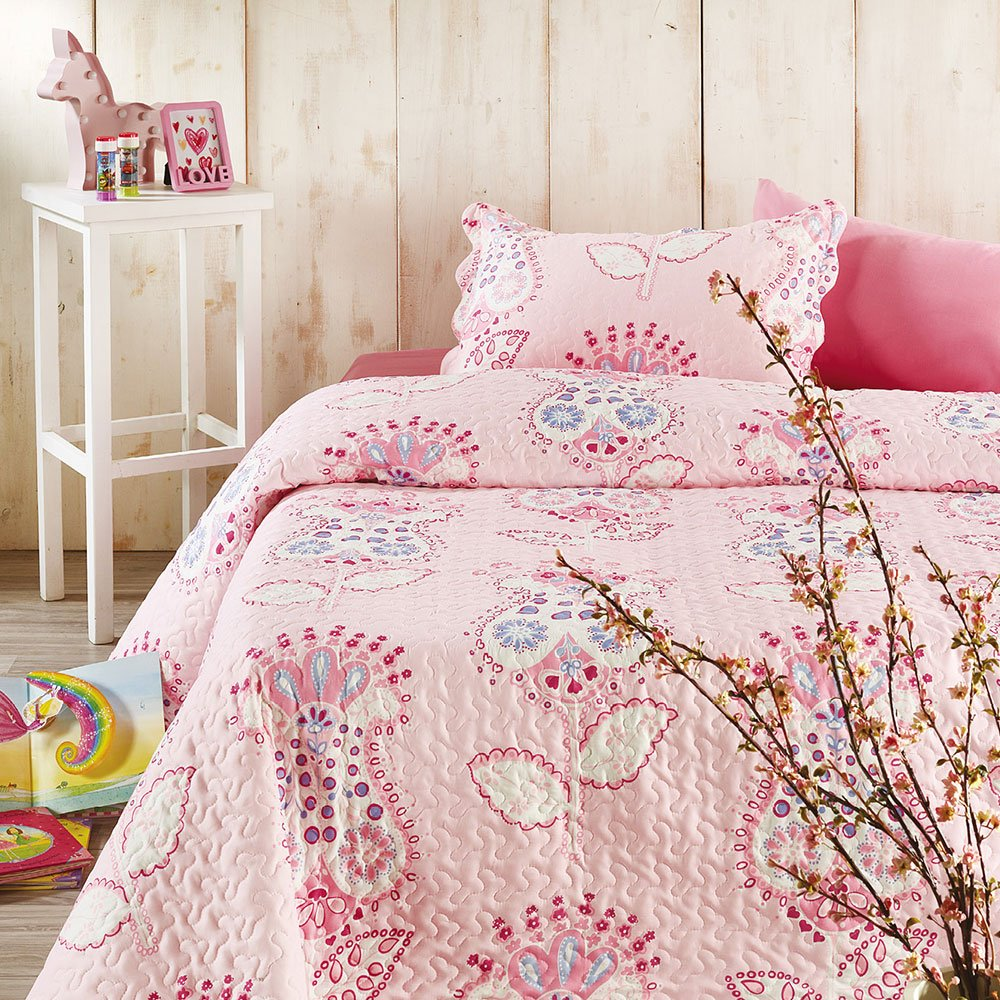 Κουβερλί Παιδικό Σετ 2τμχ L015 Pink Whitegg Μονό 160x240cm
