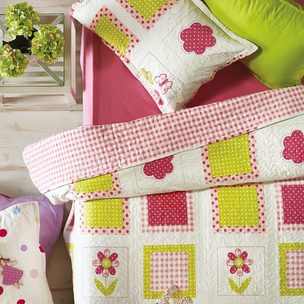 Κουβερλί Παιδικό Σετ 2τμχ KB51 Green-Pink Whitegg Μονό 160x240cm