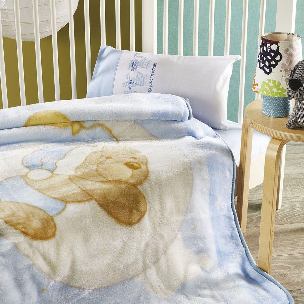 Κουβέρτα Βρεφική KB050 Blue Whitegg Κούνιας 110x140cm