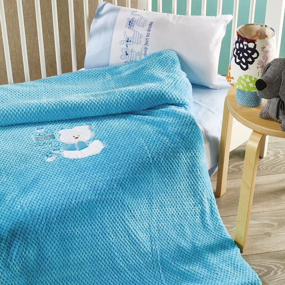 Κουβέρτα Βρεφική KB053 Νo.2 Blue Whitegg Κούνιας 110x140cm