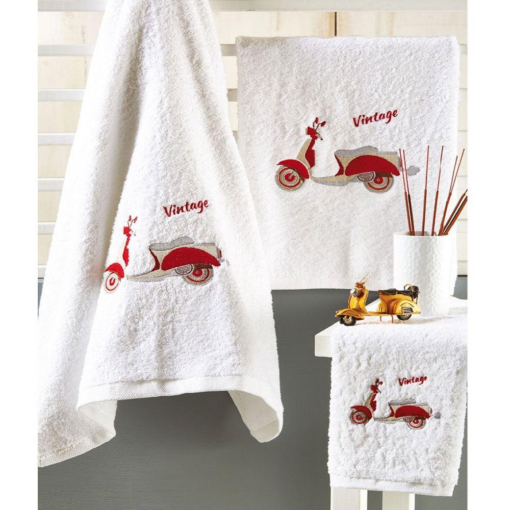 Πετσέτες Βρεφικές Σετ 3τμχ P015 White-Red Whitegg Σετ Πετσέτες 70x140cm