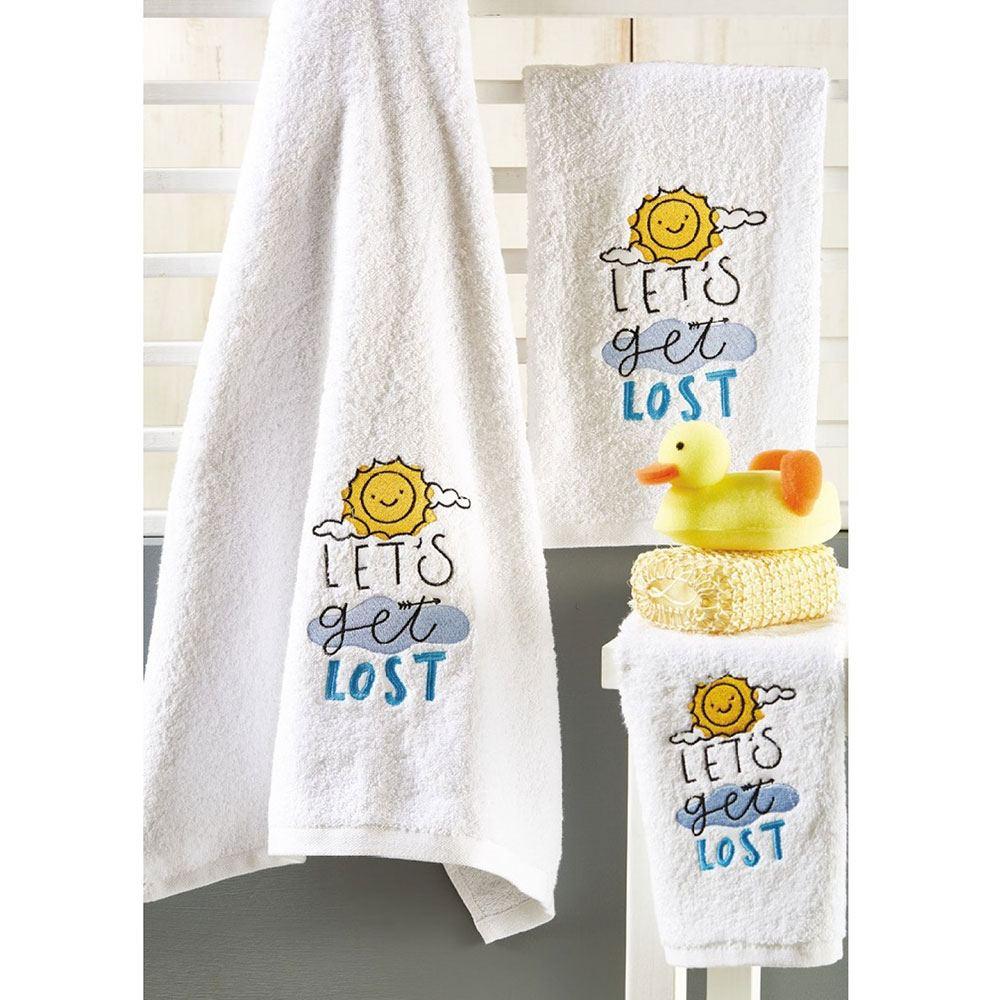 Πετσέτες Βρεφικές Σετ 3τμχ P016 White-Blue Whitegg Σετ Πετσέτες 70x140cm