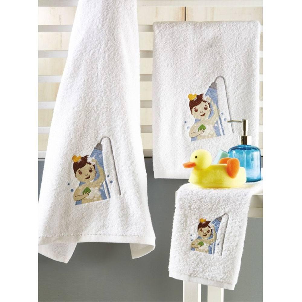 Πετσέτες Βρεφικές Σετ 3τμχ P017 White-Blue Whitegg Σετ Πετσέτες 70x140cm