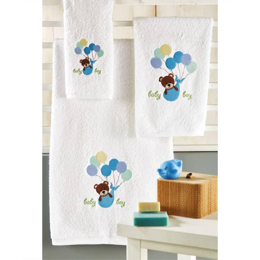 Πετσέτες Βρεφικές Σετ 3τμχ P019 No.1 Blue Whitegg Σετ Πετσέτες 70x140cm
