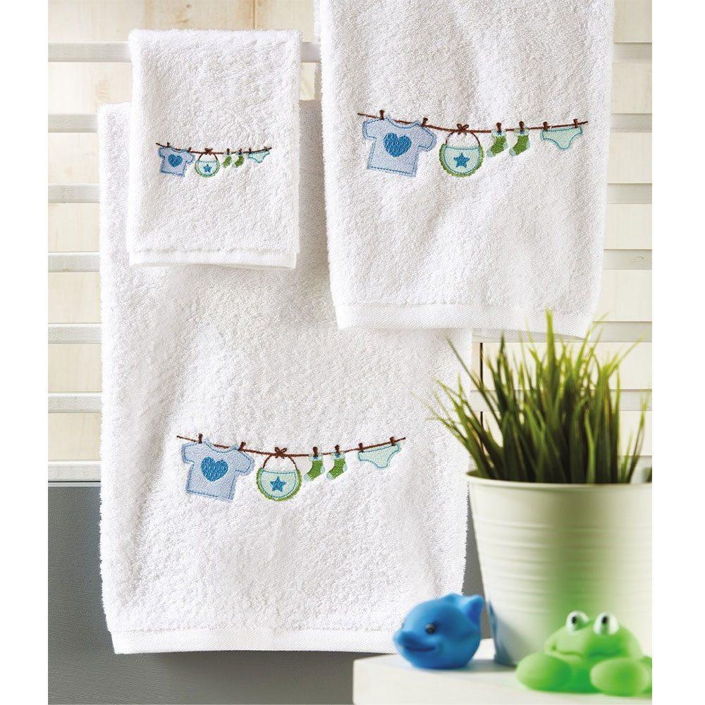 Πετσέτες Βρεφικές Σετ 3τμχ P021 White-Blue Whitegg Σετ Πετσέτες 50x90cm