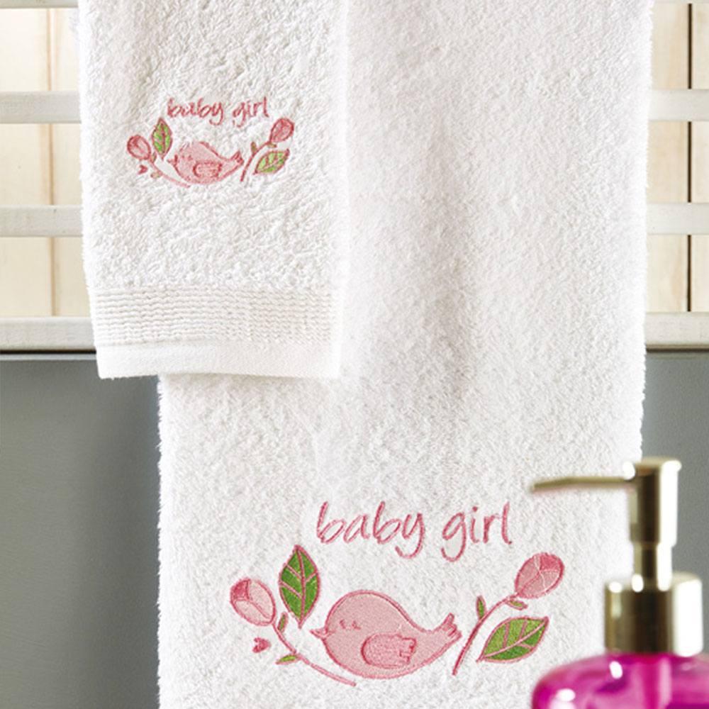 Πετσέτες Βρεφικές Σετ 2τμχ P025 White-Pink Whitegg Σετ Πετσέτες 50x90cm