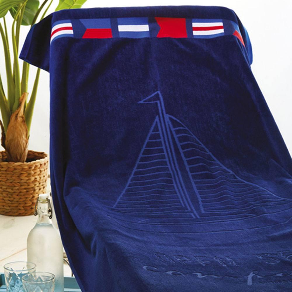 Πετσέτα Θαλάσσης S014 No.2 Dark Blue Whitegg Θαλάσσης 90x170cm
