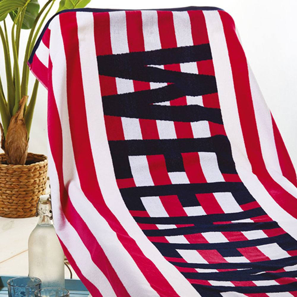 Πετσέτα Θαλάσσης S015 No.2 Red Whitegg Θαλάσσης 90x170cm