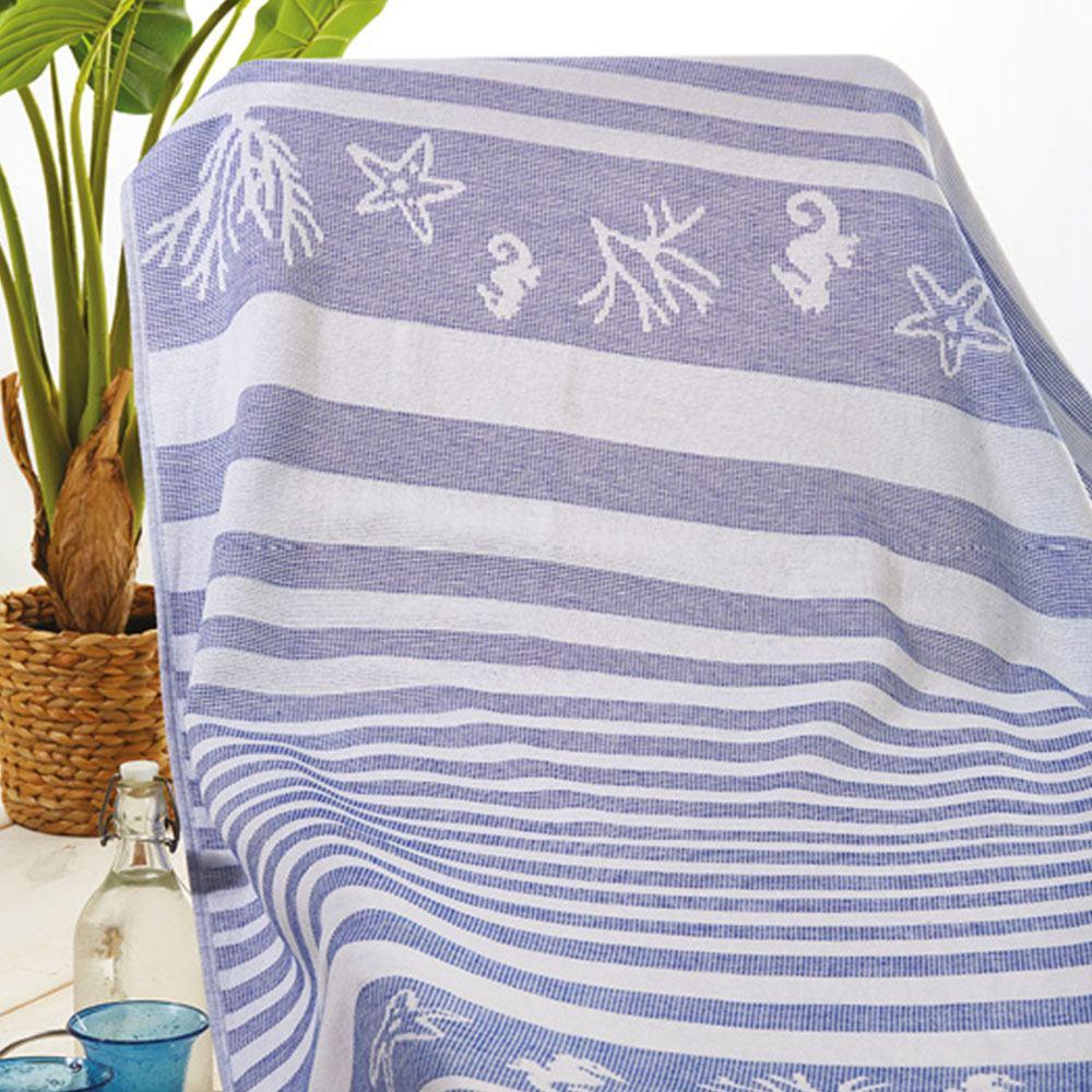 Πετσέτα Θαλάσσης – Παρεό Πεσταμάλ S027 No.1 Denim Whitegg Θαλάσσης 90x160cm