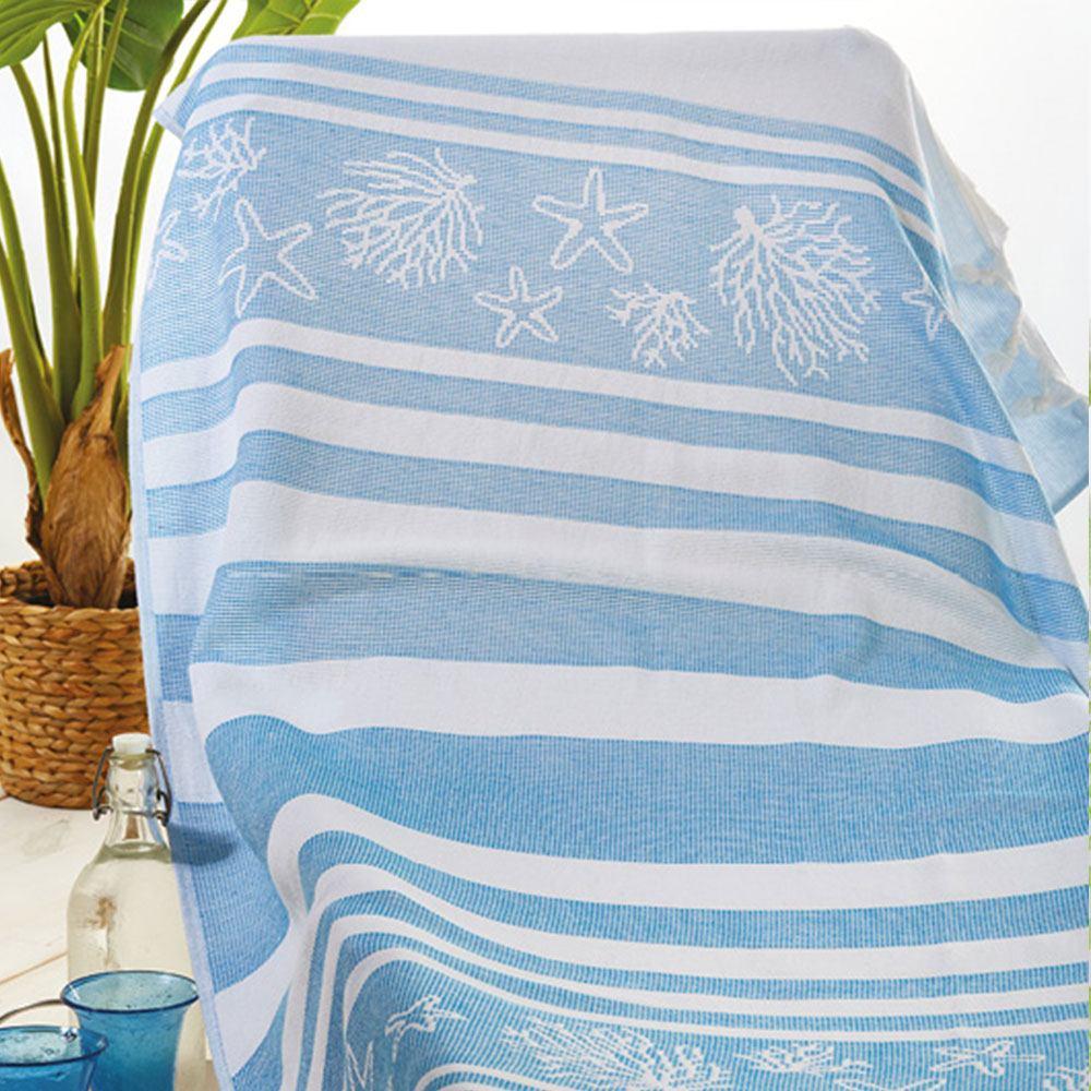 Πετσέτα Θαλάσσης – Παρεό Πεσταμάλ S027 No.3 Blue Whitegg Θαλάσσης 90x160cm