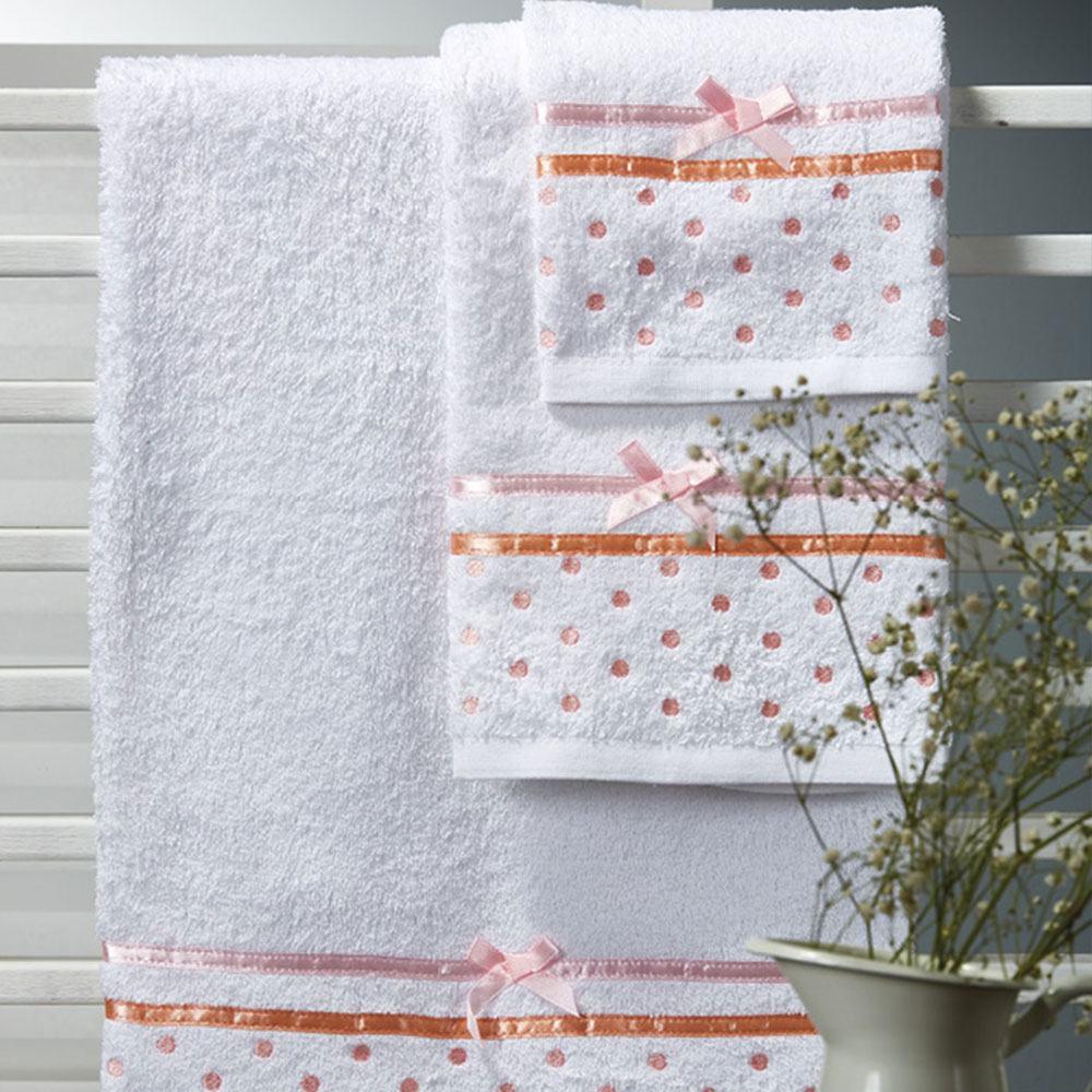 Πετσέτες Σετ 3τμχ Of017 White-Pink Whitegg Σετ Πετσέτες 70x140cm