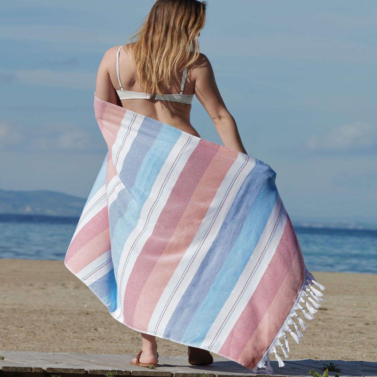 Πετσέτα Θαλάσσης – Παρεό Akti 19 Blue Kentia Θαλάσσης 90x180cm