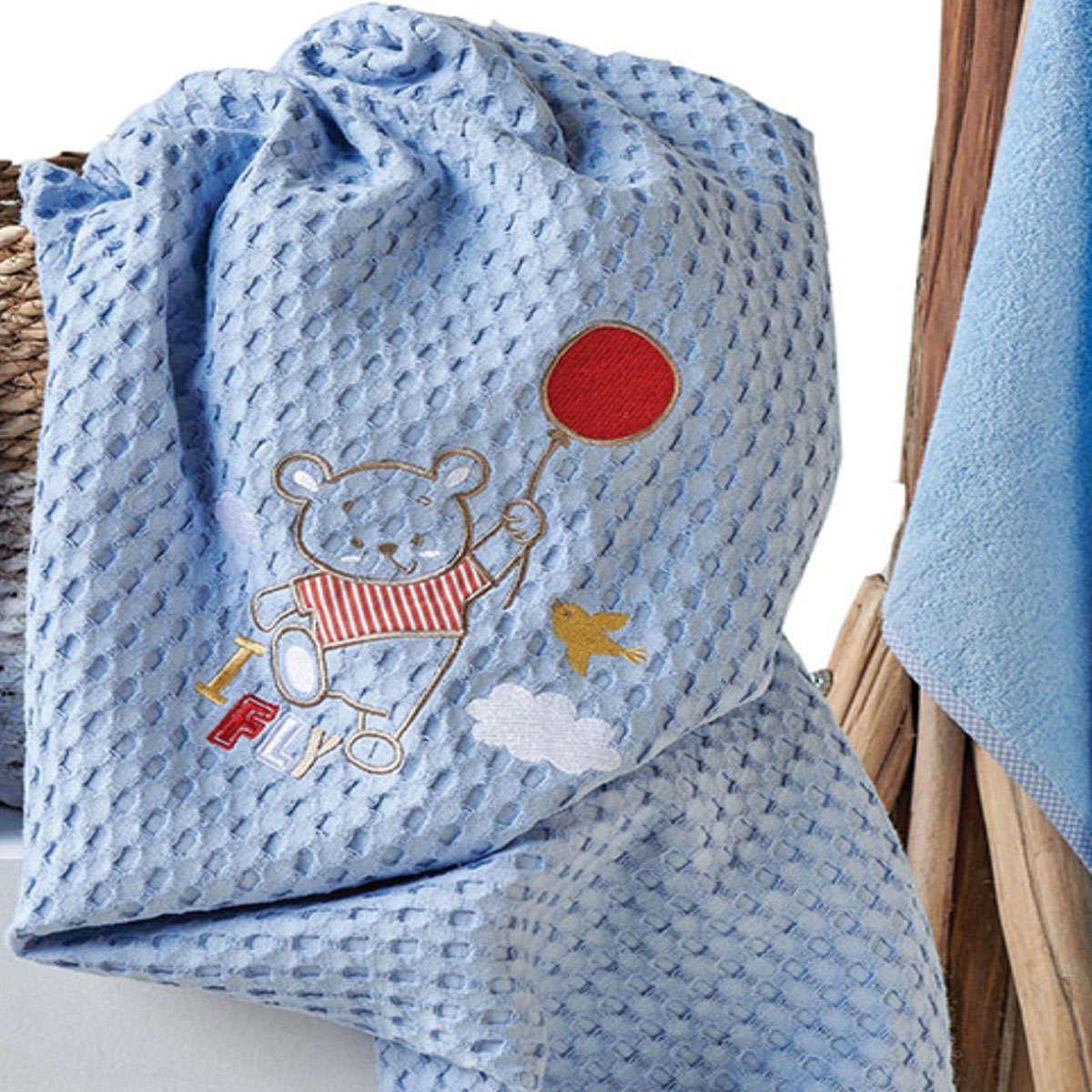 Βρεφική Κουβέρτα Balloon Blue Kentia Κούνιας 100x140cm