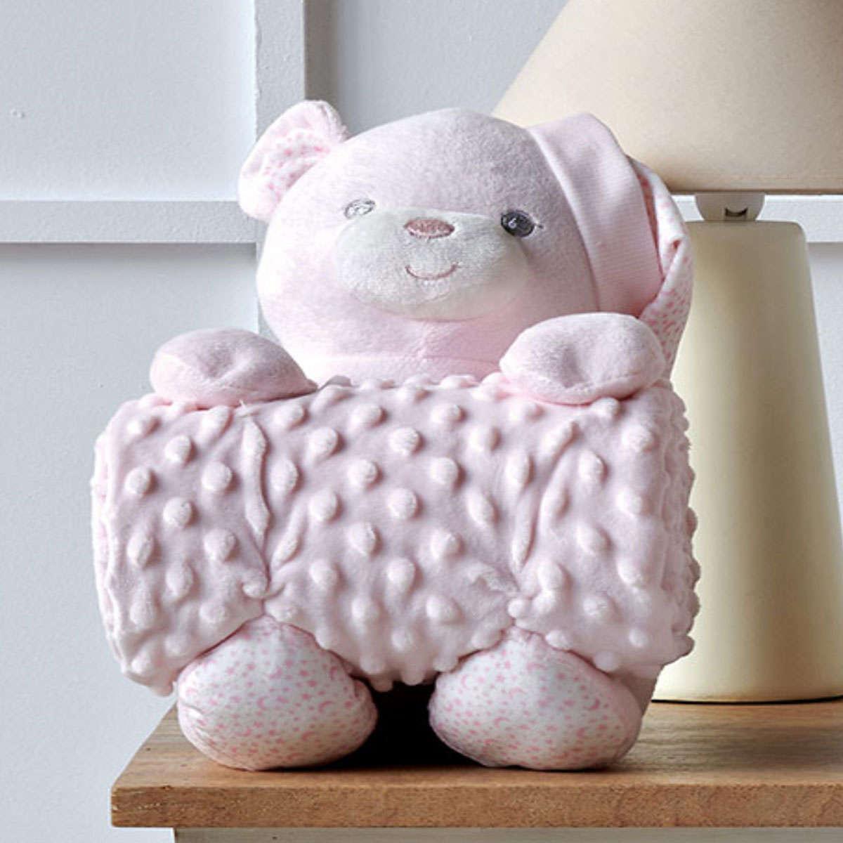 Βρεφική Κουβέρτα Με Παιχνίδι Bear 14 Pink Kentia Αγκαλιάς 75x100cm