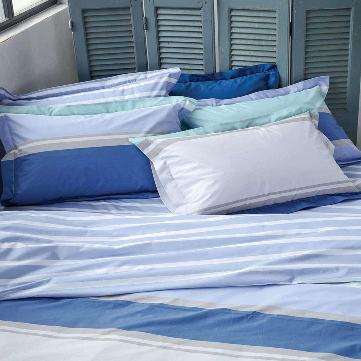 Μαξιλαροθήκες Σετ Bosco 01A Blue 2 Τεμ. Σχέδιο Κατωσέντονου Kentia 50Χ70 50x70cm