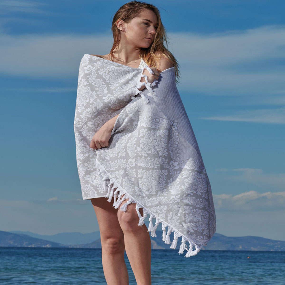 Πετσέτα Θαλάσσης – Παρεό Corfu 22 Grey Kentia Θαλάσσης 90x180cm