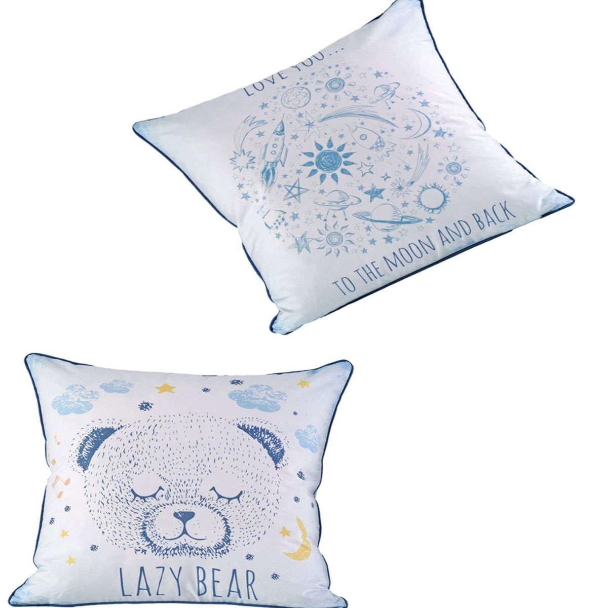 Παιδική Διακοσμητική Μαξιλαροθήκη Lazy White-Blue Διπλής Όψης Kentia 50X50 50x50cm
