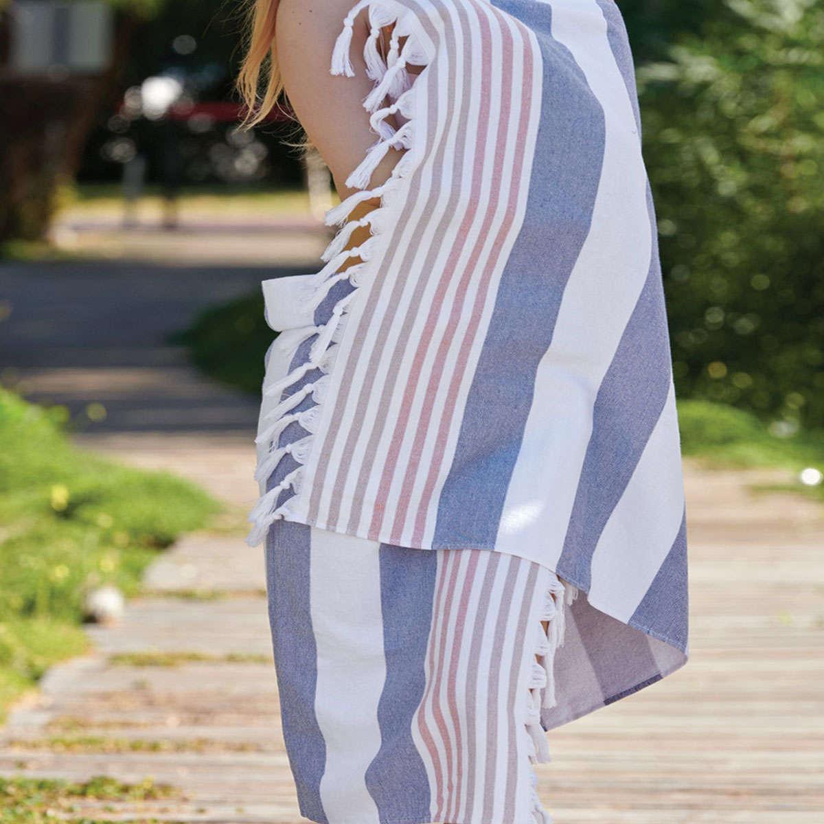 Πετσέτα Θαλάσσης – Παρεό Limnos 01 Blue Kentia Θαλάσσης 90x180cm
