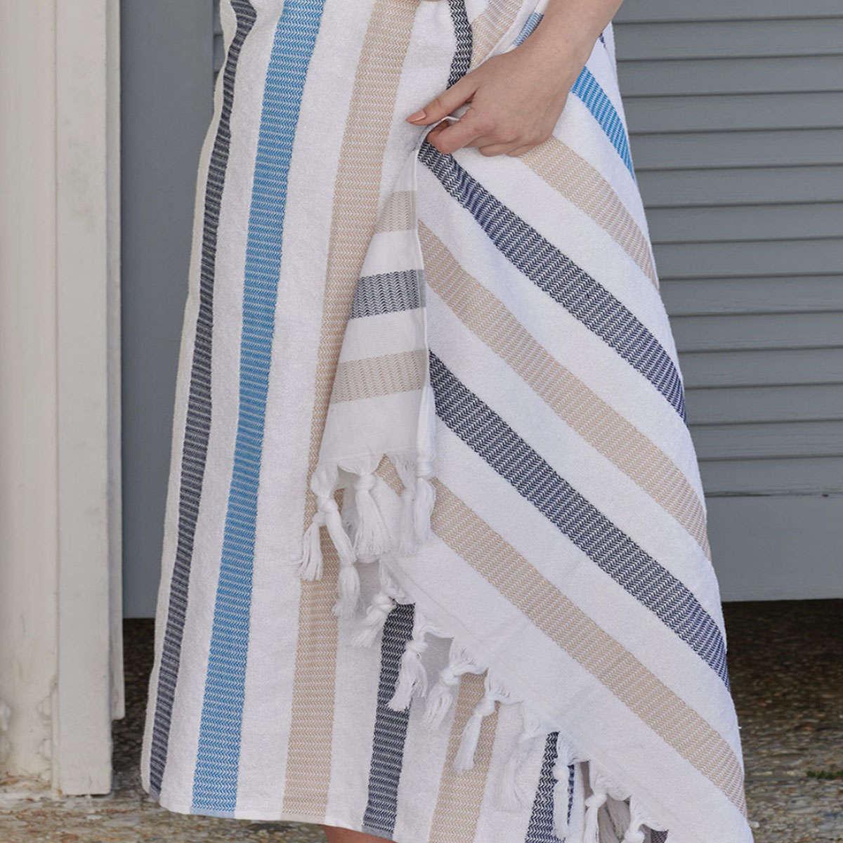 Πετσέτα Θαλάσσης – Παρεό Myrtos 18 Blue-Beige Kentia Θαλάσσης 90x180cm