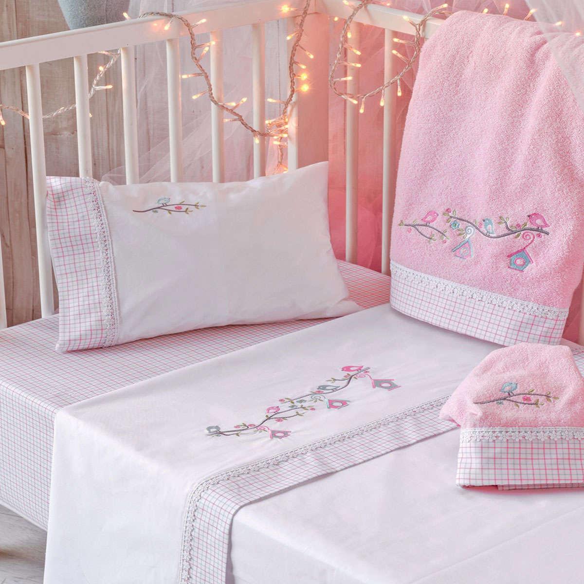 Βρεφικό Σεντόνι Σετ Nest Pink 3 Τεμ. Kentia Κούνιας 120x160cm