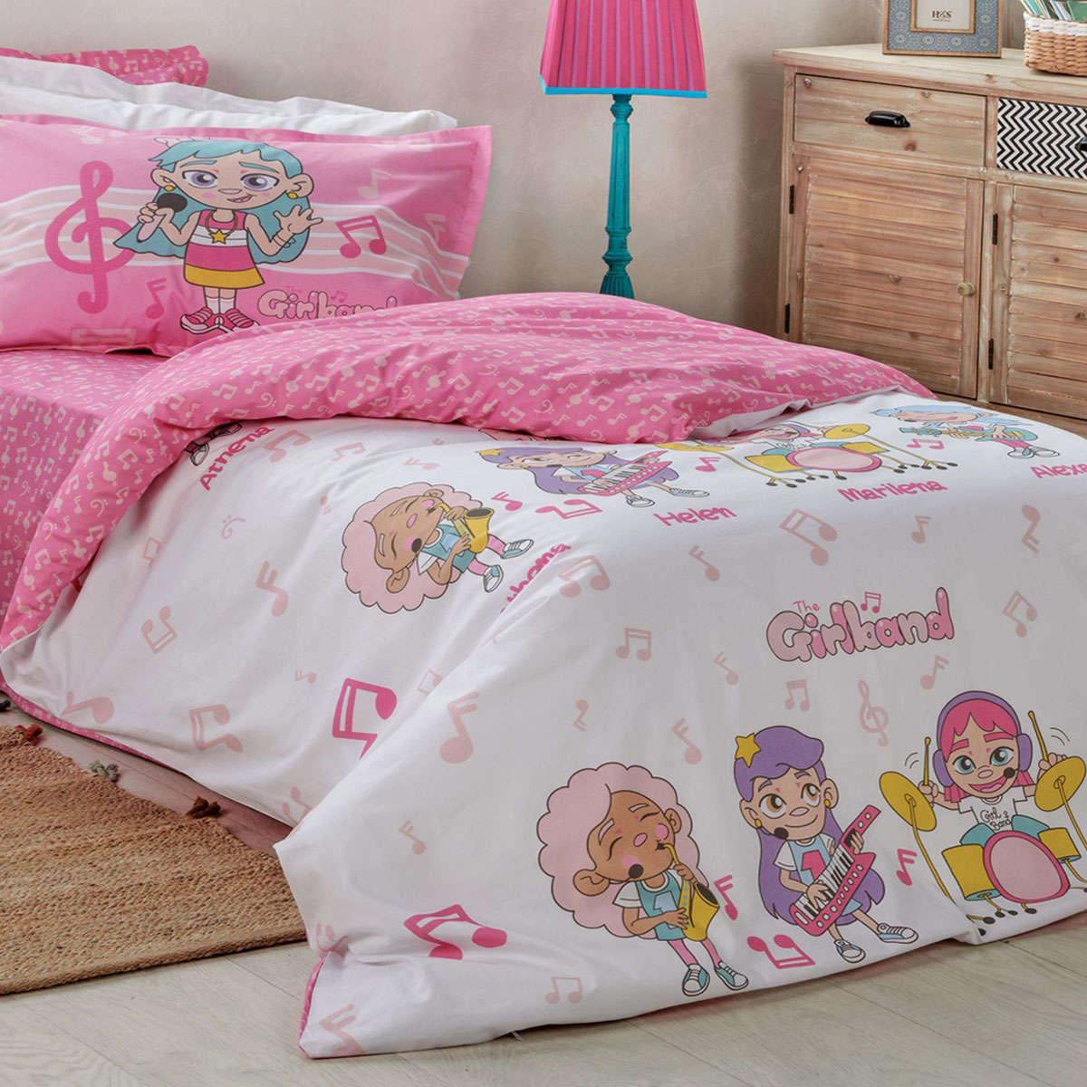 Παιδικό Σεντόνι Σετ Notes Pink 4 Τεμ. Kentia Μονό 170x250cm