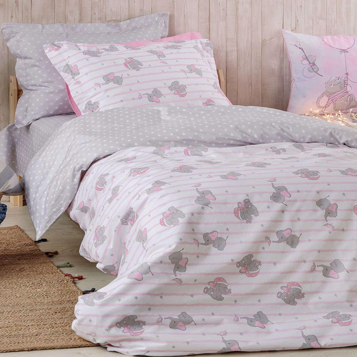 Παιδική Μαξιλαροθήκη Pinky White-Pink Kentia 50Χ70 50x70cm