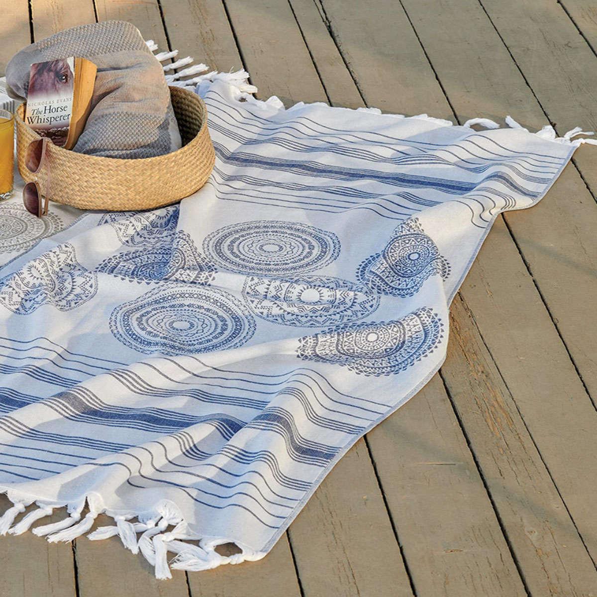 Πετσέτα Θαλάσσης – Παρεό Syros 01 Blue Kentia Θαλάσσης 90x180cm