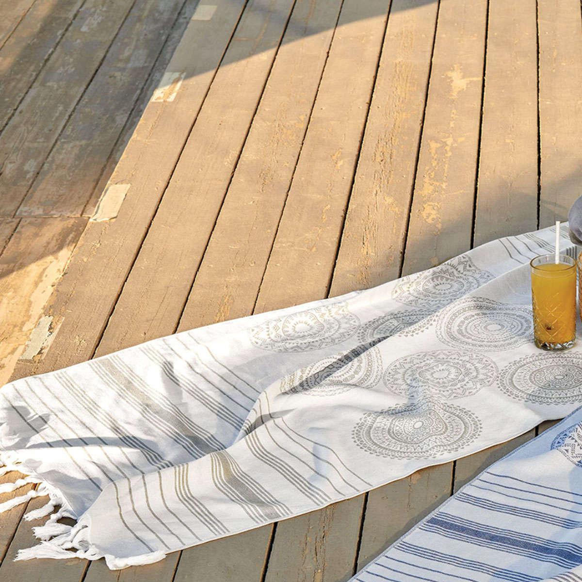 Πετσέτα Θαλάσσης – Παρεό Syros 22 Grey Kentia Θαλάσσης 90x180cm