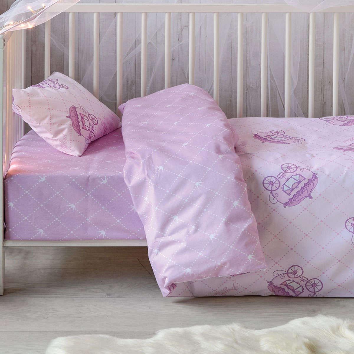 Βρεφικό Σεντόνι Σετ Tiara Pink 3 Τεμ. Kentia Κούνιας 100x140cm