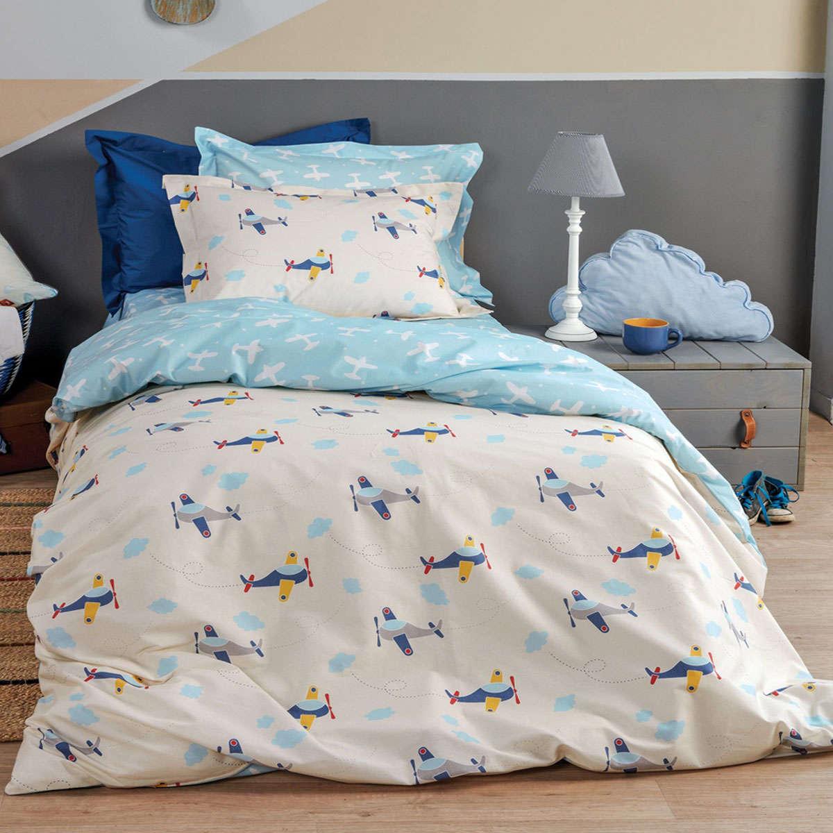 Παιδική Παπλωματοθήκη Σετ Wings White-Blue 2 Τεμ. Kentia 160x240cm
