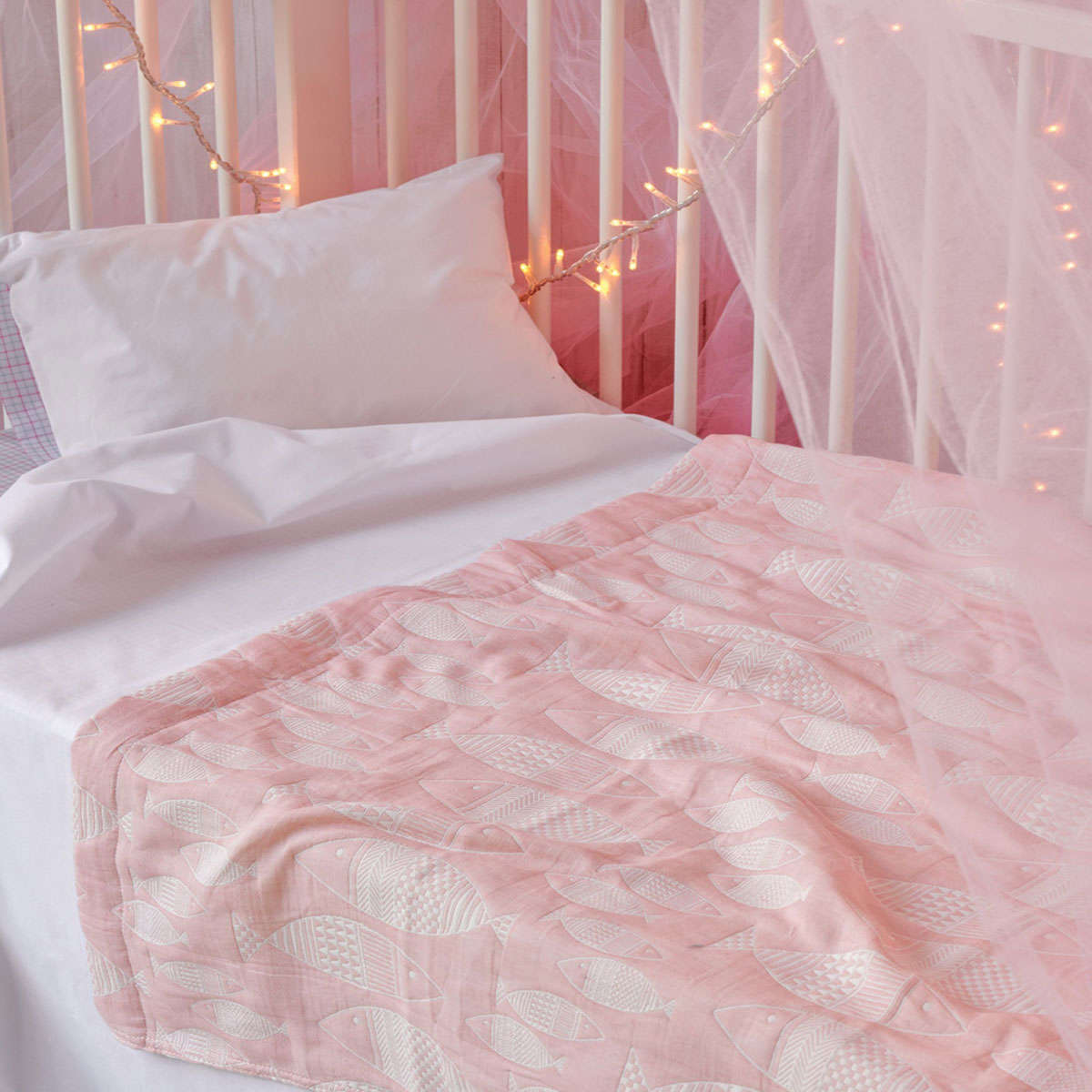 Βρεφική Κουβέρτα Yin-Yang 14 Pink Ματλασέ Kentia Κούνιας 110x140cm