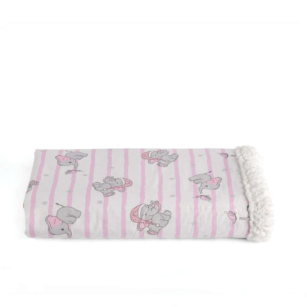 Κουβέρτα Βρεφική Pinky Με Γούνα Pink Kentia Κούνιας 110x140cm