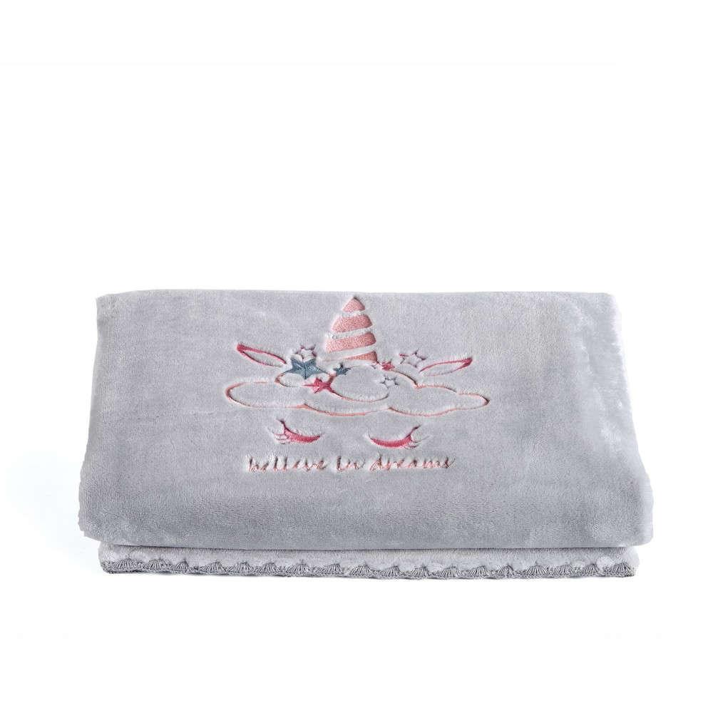 Κουβέρτα Βρεφική Unistar Grey-Pink Kentia Κούνιας 110x140cm