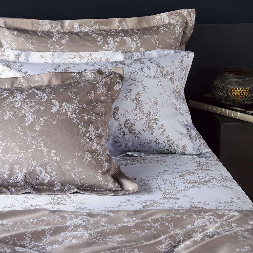 Μαξιλαροθήκες Σετ Bonsai 39A Σχέδιο Κατωσέντονου White-Beige Kentia 50Χ70 50x75cm