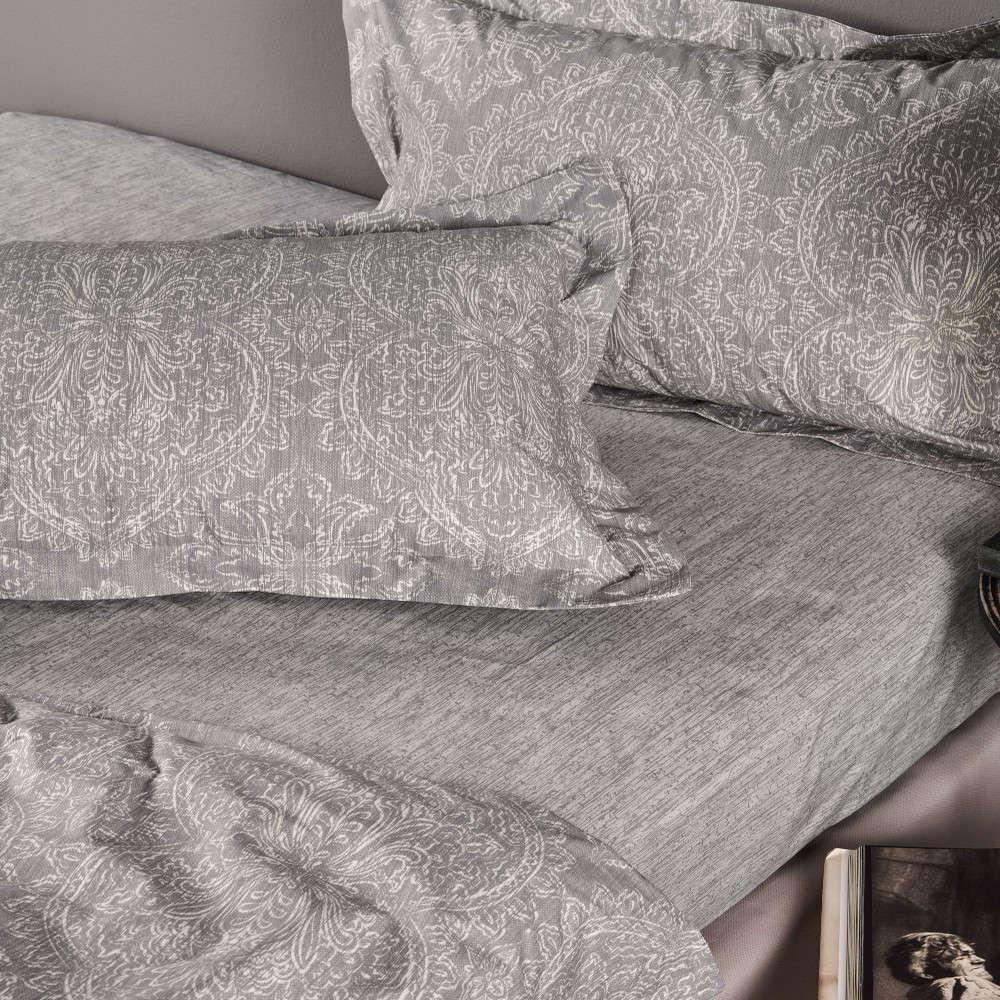 Μαξιλαροθήκες Σετ Eddie 22A Σχέδιο Κατωσέντονου Grey Kentia 50Χ70 50x75cm