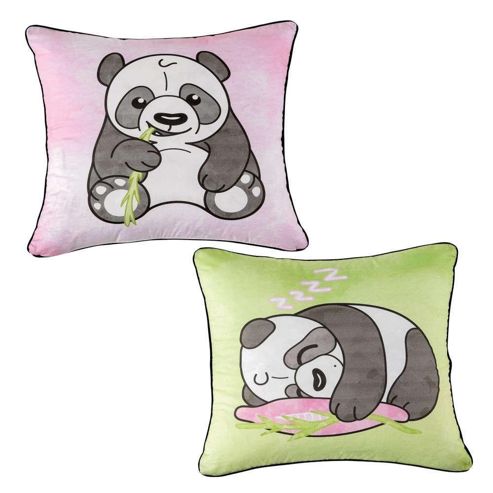 Μαξιλαροθήκη Διακοσμητική Παιδική Panda Green-Fuchsia Kentia 45X45 45x45cm