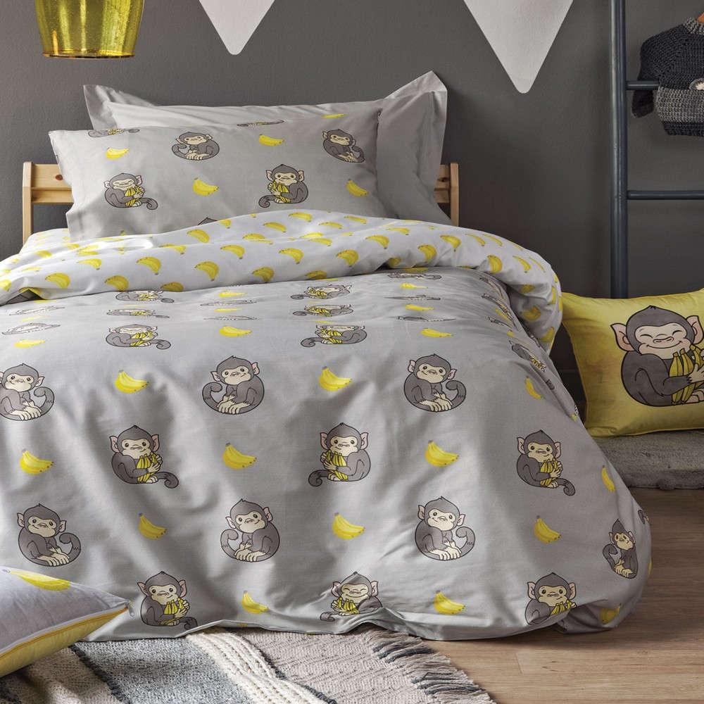 Παπλωματοθήκη Παιδική Banana Σετ Grey-Yellow Kentia Μονό 160x240cm
