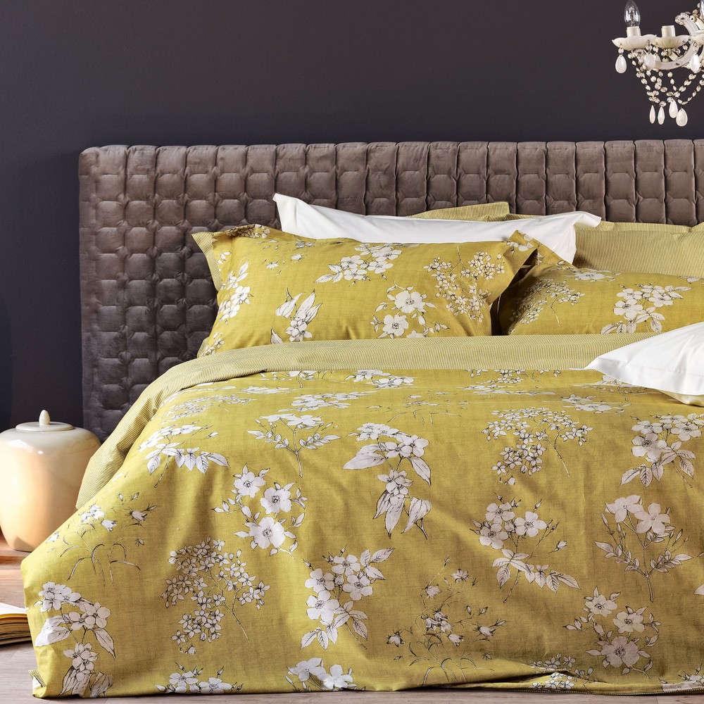 Παπλωματοθήκη Σετ Marilyn 03 Mustard Kentia Υπέρδιπλo 220x240cm