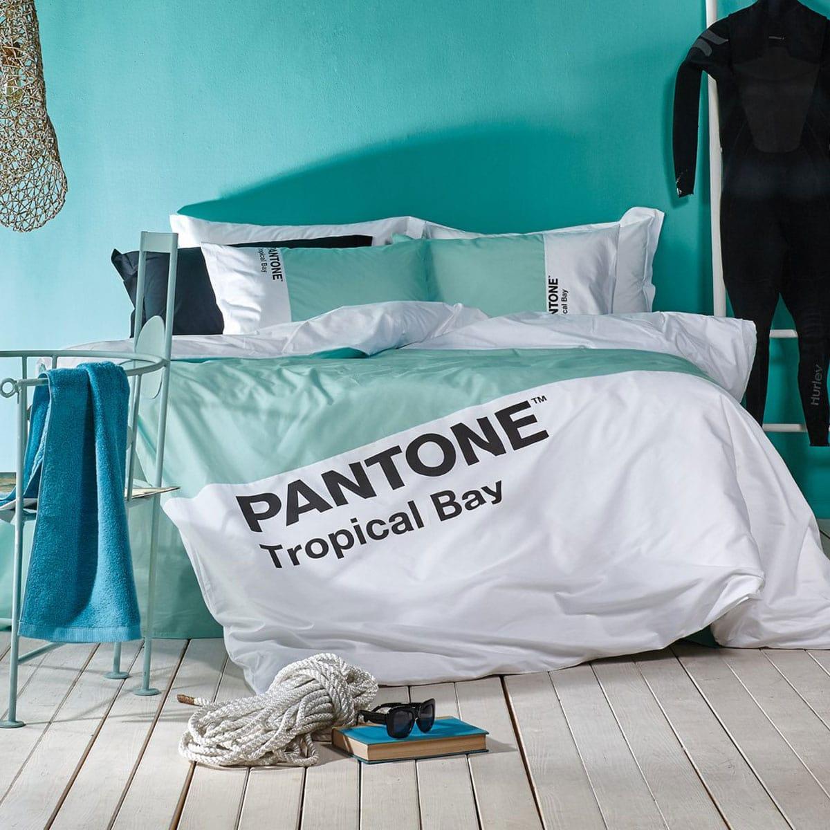 Παπλωματοθήκη Σετ 3Τμχ. Pantone 5306 Turquoise Kentia King Size 260x240cm