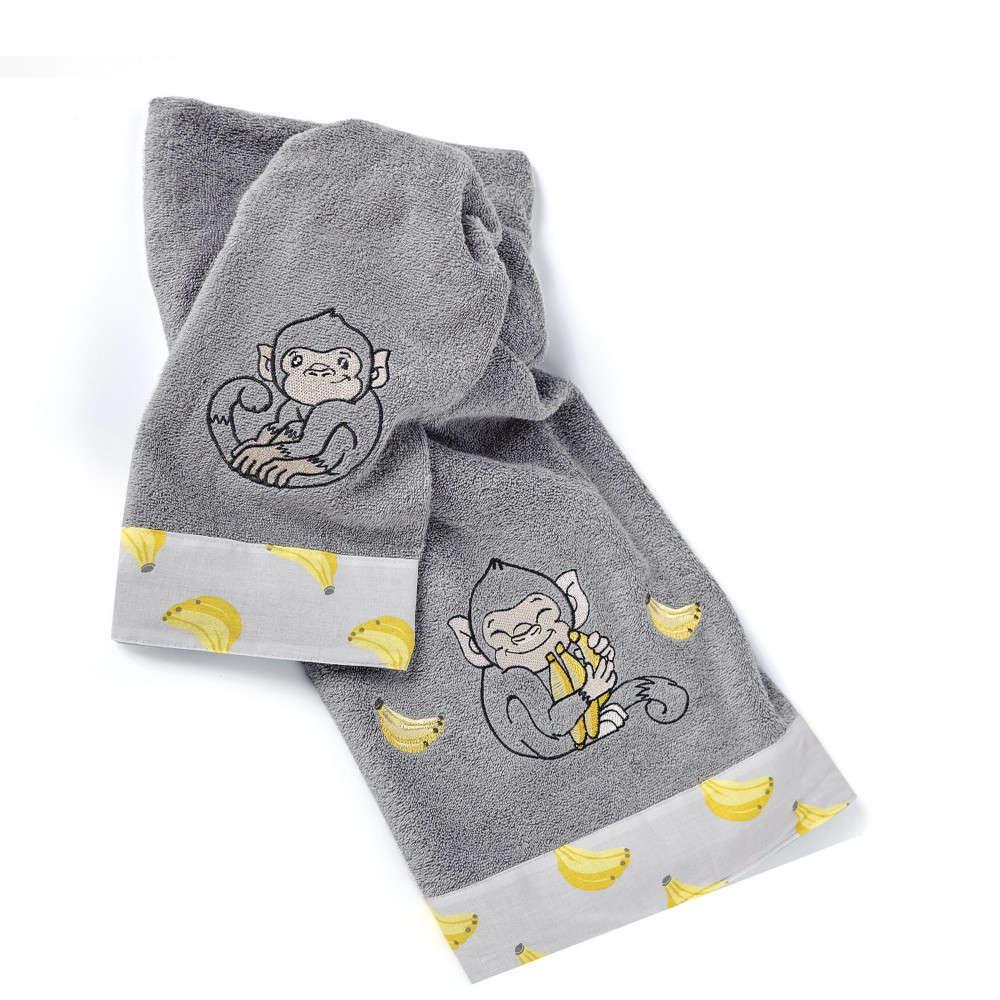 Πετσέτες Παιδικές Σετ 2τμχ. Banana Grey-Yellow Kentia Σετ Πετσέτες