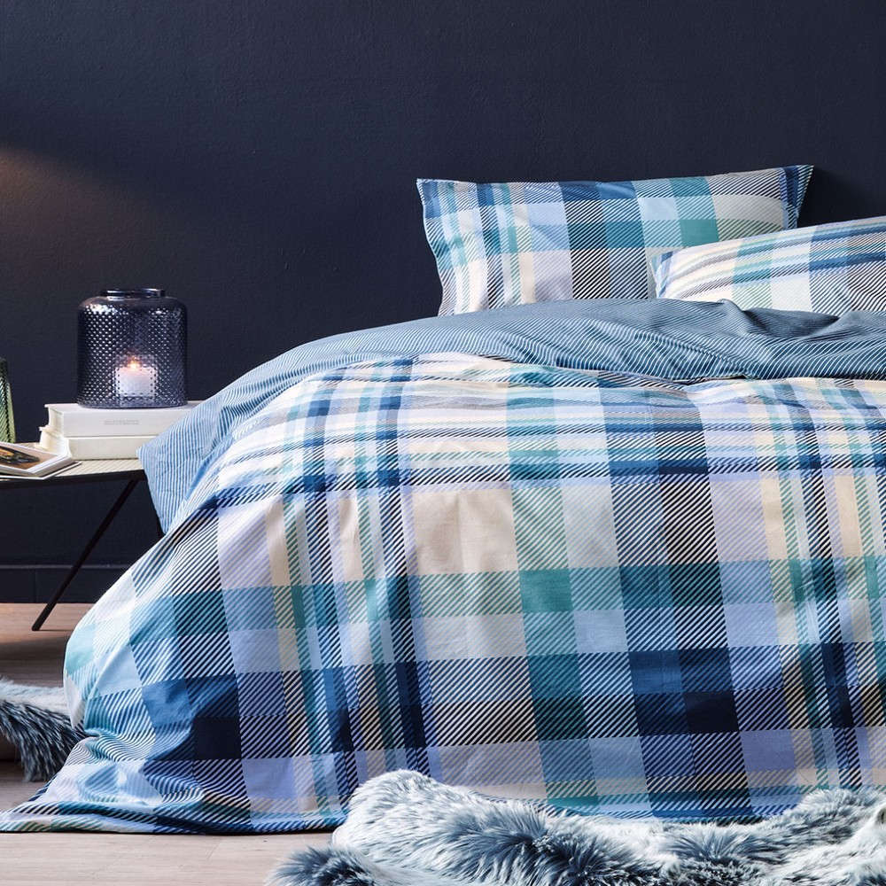 Σεντόνι Albert 01 Σετ Blue Kentia King Size 270x270cm